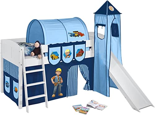 Lilokids Spielbett IDA 4106 Bob der Baumeister - Teilbares Systemhochbett Weiß - mit Turm, Rutsche und Vorhang