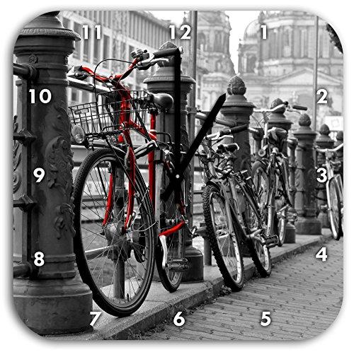 Vélos axe navigable Horloge murale noir / blanc, diamètre 28cm noir a les mains et le visage, des objets de décoration, Designuhr, composite aluminium très agréable pour salon, bureau