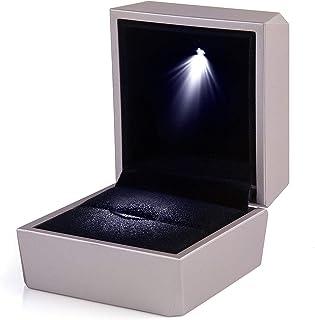 Comius Sharp Scatola per anelli in oro rosa con espositore per gioielli leggeri Confezione regalo per proposta di fidanzam...