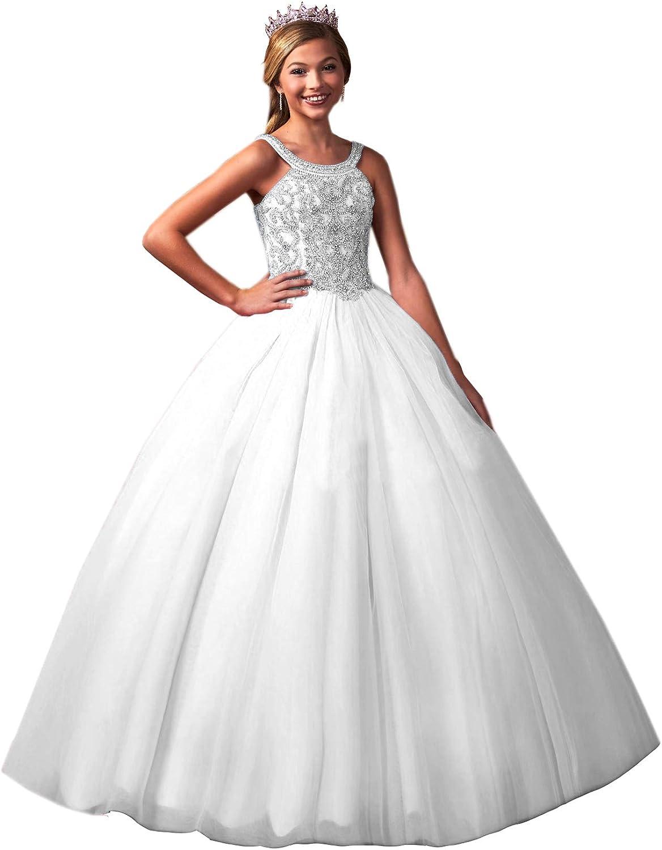 Junguan Girls' Halter Pageant Dresses Long Aline Princess Formal Evening Ball Gowns for Wedding Guest TF012