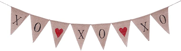Tinksky Valentine's Day Bunting Banners XOXOXO Letter Pennant Flags Romantic Garland Decorations for Wedding Bridal Shower Proposal Party
