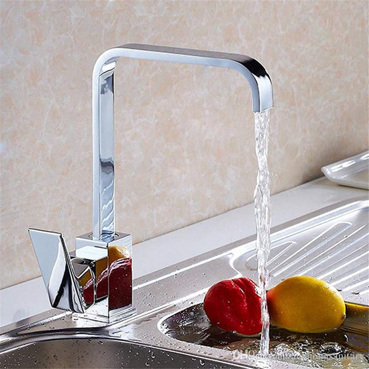 Oudan Contemporary Chrome Brass Waterfall Kitchen Sink Tap Brass Chrome with Single Handle Hole Kitchen Water Taps Hs417 (color   -, Size   -)