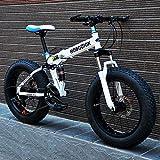 ファットタイヤマウンテンバイク、ダブルディスクブレーキ/高炭素鋼フレームクルーザーメンズバイク、26インチビーチスノーモービル自転車、アルミ合金ホイール,白,27 speed