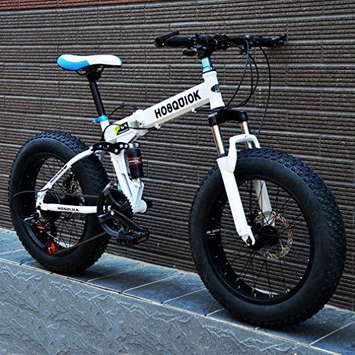 AISHFP Fat Tire Mountain Bike, Doppio Freno a Disco in Acciaio/High-Carbonio Telaio Bici Cruiser Mens, 26 inch Beach motoslitta Biciclette, Alluminio Lega,Bianca,27 Speed