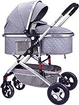 Yyqx Sillas de Paseo Cochecito de bebé Cochecito de Lujo En Cochecito de bebé Plegable Cochecito de bebé Cochecito Ligero de Dos vías Choque del bebé de la Carretilla (Color : Gray)