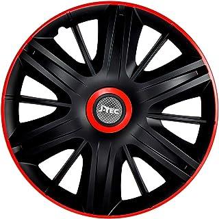 J-Tec J15526 set wieldoppen Maximus 15 inch zwart/rood