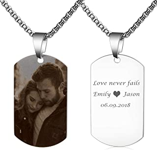 Personalized Photo Necklace Custom Picture Military Dog Tag Customize Text Engrave Name Necklace