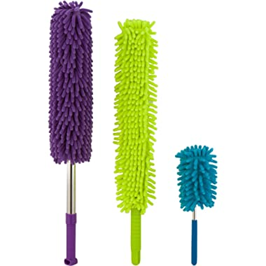 Microfiber Hand Dusters Set| 3-Pack| 1x Telescopic/Extendable Ceiling Duster, 1x Bendable Duster & 1x Mini Telescopic Duster For Car Use| Heart & Abode House, Kitchen & Automotive Cleaning Supplies