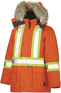 b2383edf82b TOUGH DUCK - DOWN FILL DUCK WINTER HI-VIS SAFETY PARKA WITH COYOTE FUR TRIM