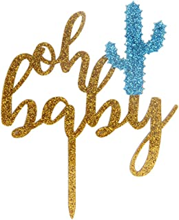 LOVELY BITON Oh Baby Acrylic Cake Topper of Two-Tone(Gold&Blue) - Baby Shower Hawaiian Party Supplies Favors, Gifts and De...