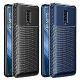 VGUARD [2 Pack Cover per Oppo Reno, [Fibra di Carbonio] Custodia Protezione in Morbida Silicone TPU Case per Oppo Reno (Nero+Blu)