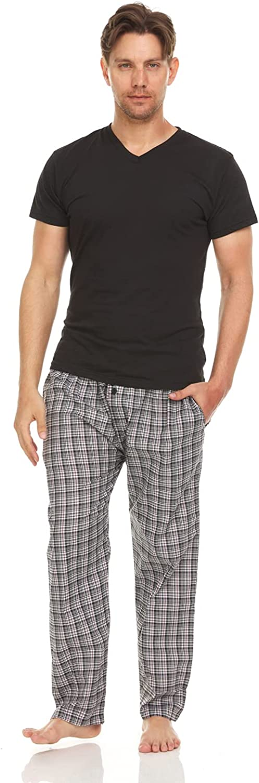 TRU FIT Men Cotton Pajamas Set Short Sleeve V Neck Sleep Shirt - Plaid Pants w/Side Pockets