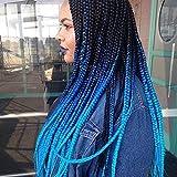 Ombre Blue Jumbo Braiding Hair Kanekalon 5Packs/Lot Ombre Braiding Hair Accessories for Women 24 Inch Crochet Hair Box Braid Twists Hair Extension (3 Tone Black-RoyalBlue-SkyBlue)