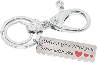 Aura Metal Single-Sided Hook Drive Safe Engraved Key Chain for Men (Multicolour)