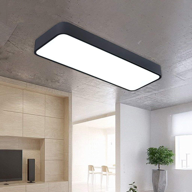 Plafond de 16W en aluminium LED noir, rectangle Oslash; 60cm, éclairage pour salon bureau cuisine couloir, économie d'énergie haute qualité et belle WSHceilingLamp (Couleur  lumière chaude)