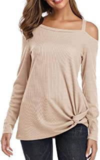 Zantt Womens Waffle Tunic Long Sleeve One Shoulder Knot Side Twist T-Shirt Tops Blouse