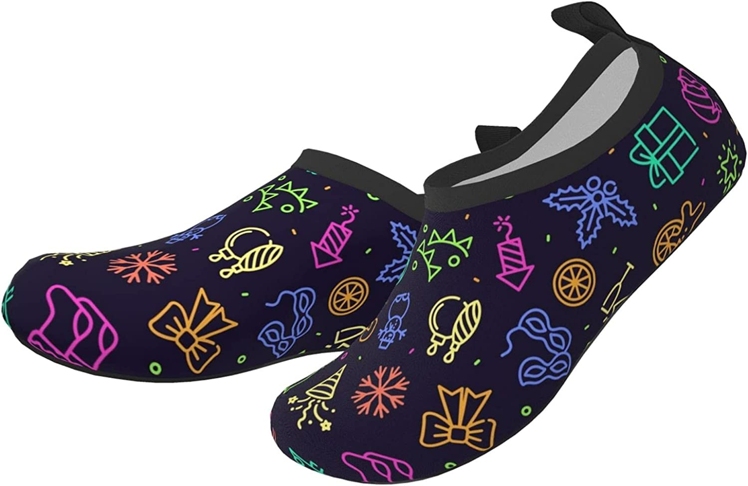 Jedenkuku Shiny Bow Gift Christmas Stocking Children's Water Shoes Feel Barefoot for Swimming Beach Boating Surfing Yoga
