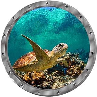 CLISPEED 2pcs Porthole Wall Stickers Bedroom Turtle 3d Wall Stickers Porthole Sea Life Art Sticker for Kids Playroom Batht...