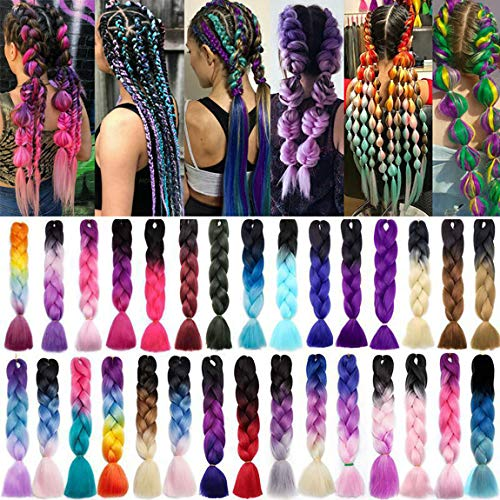3 Pcs /300g 24'' Braiding Hair Extensions Ombre Jumbo Braiding Hair Braid Hair Extensions Dark Blue to Rose Red to Bleach Blonde