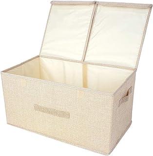 XJZKA Boîte de Rangement Pliable, Deux couvercles, Panier de vêtements d'art en Tissu de Lin, Poubelle, Sac de Rangement (...