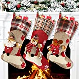 Aitey Christmas Stocking, 18' Set of 3 Santa, Snowman, Reindeer, Xmas Character 3D Plush with Faux Fur Cuff Christmas Decorations and Party Accessory (Short Hat2)