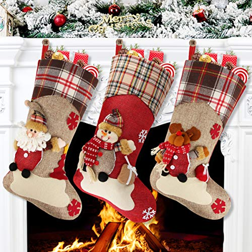 Aitey Christmas Stocking, 18 Set of 3 Santa, Snowman, Reindeer, Xmas Character 3D Plush with Faux Fur Cuff Christmas Decorations and Party Accessory (Short Hat2)