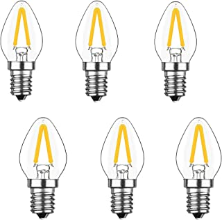 Lxcom E12 LED Filament 2W LED Bulb 15W Incandescent Replacement C7 Vintage LED E12 Base Filament Clear Warm White 2700K LED Candelabra Bulb for Refrigerator Decorative Bulb, 6 Pack
