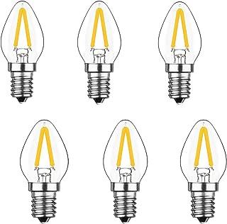 Lxcom E12 LED Filament 2W LED Bulb 15W Incandescent Replacement C7 Vintage LED E12 Base Filament Clear Warm White 2700K LED Candelabra Bulb for Refrigerator Decorative Bulb, 6 Pack