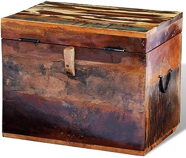 vidaXL Solid Wood Reclaimed Storage Box Chest Organizer Trunk Indoor Stand