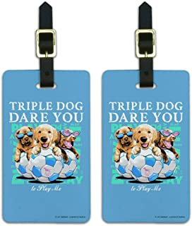 Triple Dog Dare You Puppies Soccer Luggage ID Tags Cards Set of 2