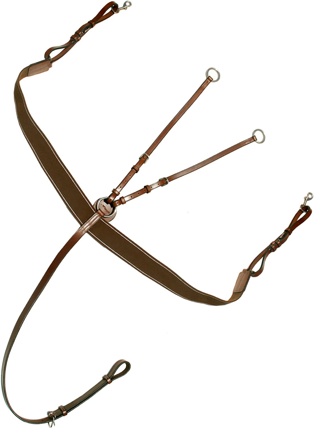 Exion Elastic Breast Plate with Girth Strap and Stainless Steel Buckles   Brown Elastic with Grey & Maroon Lines   English Horse Riding Equestrian Premium Tack   Conker  Pony