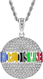 Men's Personalized 3D World is Mine Necklace Punk Style Statement Alloy Rhinestone Rope Chain Pendant Hiphop Metal Jewelry for Costume Party