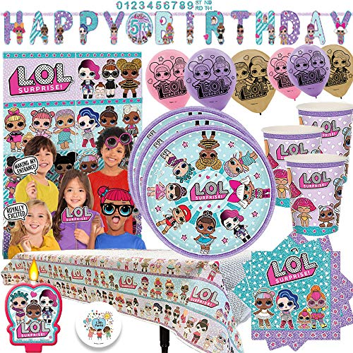 L.O.L. Surprise Party MEGA Pack with Decorations for 16 Guests With Plates, Cups, Napkins, Tablecover, Birthday Candle, Scene Setter with Props, 6 Balloons, and an EXCLUSIVE Birthday Pin by Another Dream!