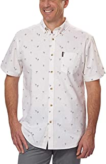 Ben Sherman Men's Short Sleeve Stretch Woven Button-Down Shirt (Cream Palm Trees, Large)