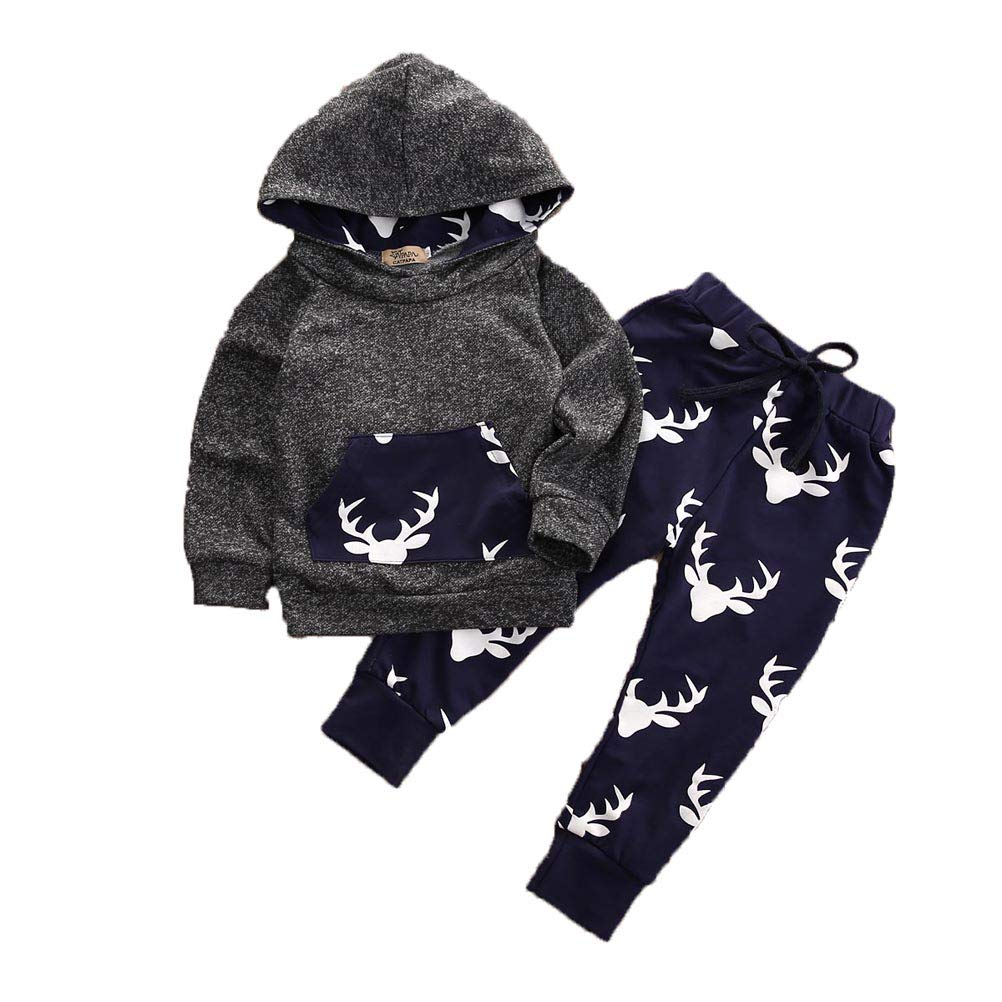 Boys Baby Hooded Top And Pant 2Pcs Sets Outfits Children Clothes 0-18 Months