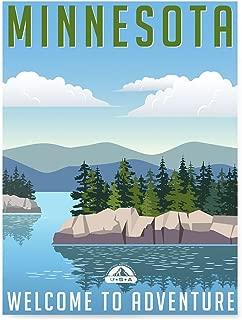 EzPosterPrints - Retro USA States Travel Poster Series- Poster Printing - Wall Art Print for Home Office Decor - Minnesota - 18X24 inches