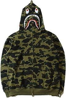Unisex Bathing Ape Bape Shark Jaw Camo Full Zipper Hoodie Men's Sweats Coat Jacket