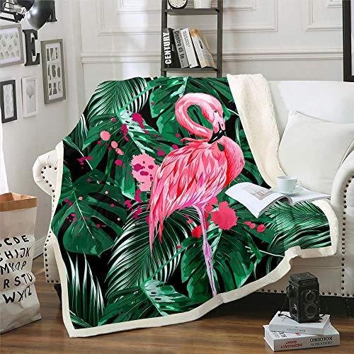 Coperta in pile morbido e leggero, motivo a foglie verdi per divano e divano, motivo fenicottero rosa, per dormitorio, camera da letto e soggiorno, bambino (76,2 x 101,6 cm)