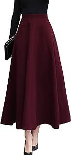 Women's Fall Winter A-Line Swing Pleated Long Maxi Wool Skater Skirt
