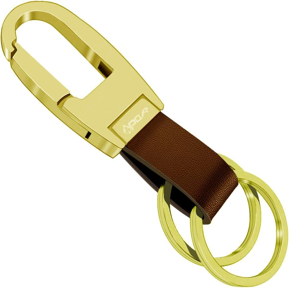 Apor Key Chain with 2 Key Rings Leather Car Keychain for Men and Women