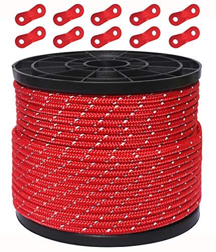 HIKEMAN 50M reflektierende Schnur Guy Seile Outdoor Zelt Führungsseil 100% Nylon Schnur Windlinie mit 10 Stück Aluminiumlegierung Spanner für Camping (red, Diameter 3 mm)