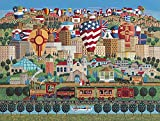 "The Jigsaw Puzzle Factory Hometown Reflections Albuquerque Express, New Mexico Balloon Puzzle Games for Adults & Kids Ages 12 & Up, Made in The USA, 750Piece, Full Size is 18"" X 24"""