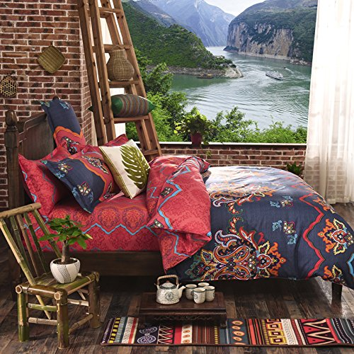 LELVA Bohemian Ethnic Exotic Style Bedding Bohemian Duvet Covers Boho Bedding Set Full Queen Size Summer Style Sabanas Sheet 4 Pieces … (King, 10)