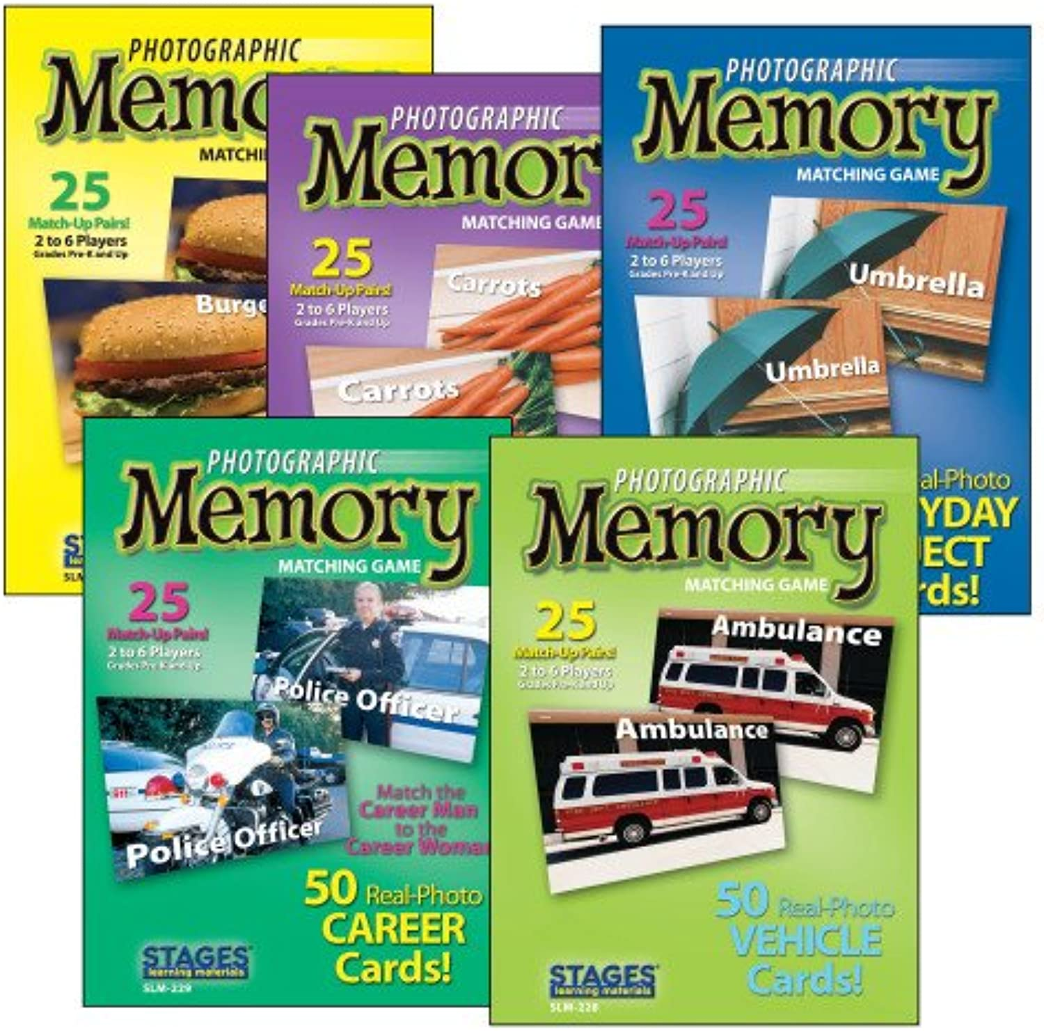 S&S Worldwide Photographic Memory Card Game, Basic Memory (Set of 5)