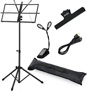 New Moukey Sheet Music Stand MMS-1 Portable Folding Metal Music Stand With Light Carrying Bag Black