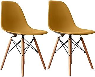 イームズチェア オフィス椅子 デザイナーズ家具 木製 おしゃれ ダイニング チェア 軽量,北欧モダン椅子 人気な木脚,2脚セット (濃い黄色)