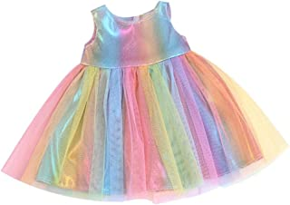 freneci Mini Summer Dress Colorful Short Sleeve Daily Clothes Dress up Accessories for 43-45cm American Doll