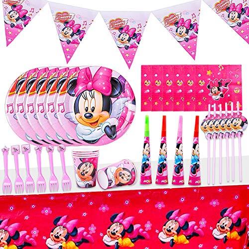 JPYH Set de Fiesta de cumpleaños de Minnie 54 PCS Disney Mickey Mouse Party Decoration Set Platos Tazas Servilletas Pack de Fiesta Mickey Mantel Sirve para 6 Invitados