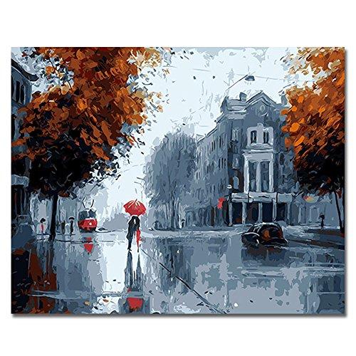 RIHE Marco de Madera, Pintura por números DIY Pintura al óleo para Adultos Niños Decoraciones para el Hogar Kiss In The Rain 16 * 20 Pulgadas
