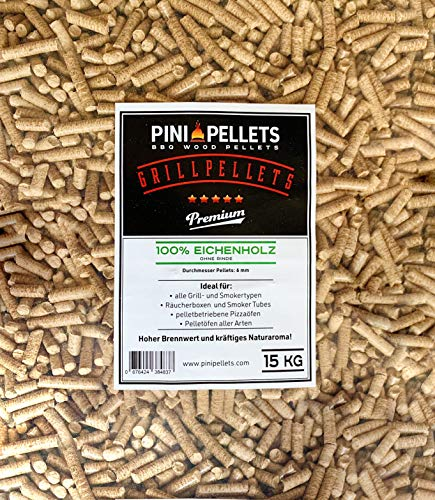 PINI Gillpellets 15 KG – Holzpellets 100% Eiche zum Grillen, Räuchern, Smoken auch für pelletbetriebene Pizzaöfen